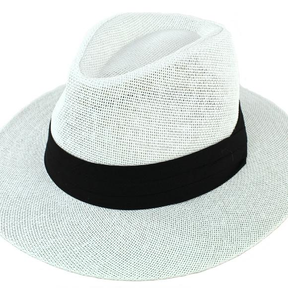 0f77977c Accessories   Women Summer Straw Panama Hat Fedora Sun Hat White ...